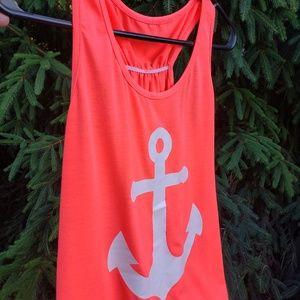 Bright neon orange anchor racerback tank top